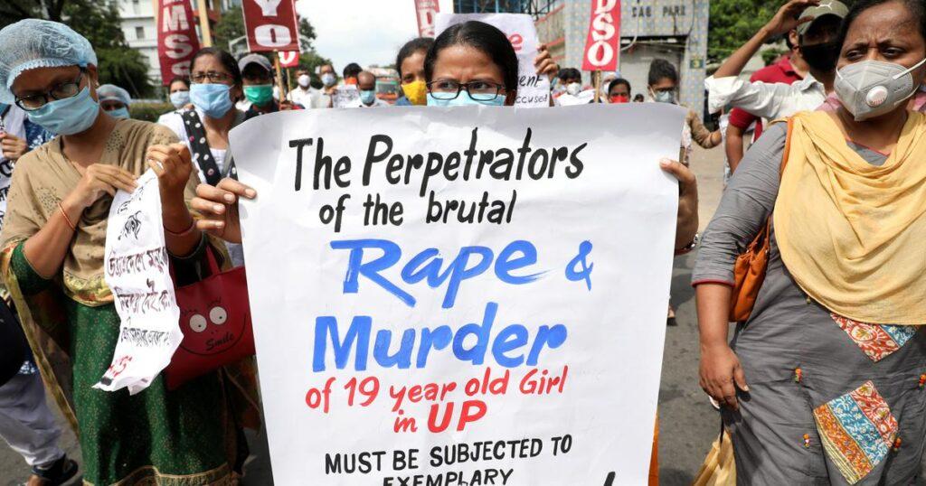 Protest seeking justice for Hathras gang rape victim.