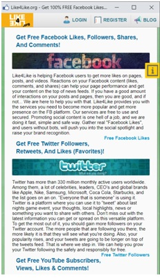Website offering paid likes and followers