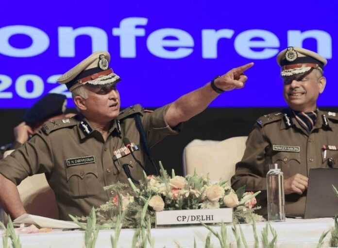 Delhi Police Commissioner SN Shrivastava at the annual press conference at the police headquarters in New Delhi.