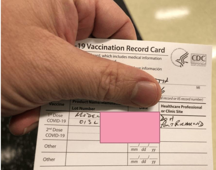 """A fake vaccination record from the """"CDC- Centers for Disease control and prevention"""" – part of the U.S. Government's Department of Health & Human Services."""