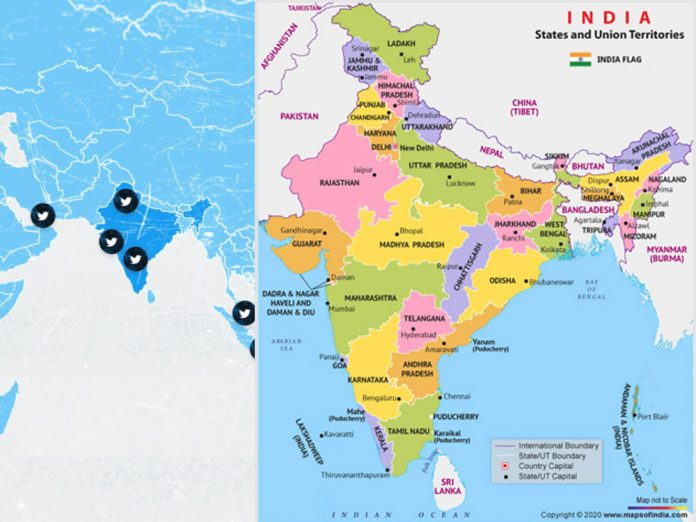 Twitter pulls down distorted map of India it had it on display on its platform.